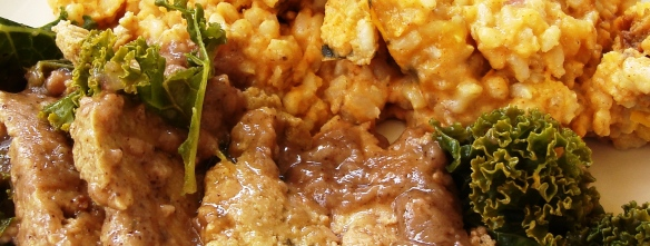 "Sage seitan and kale in gravy; brown rice and delicata squash ""casserole""crop"
