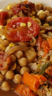 Garbanzo beans with roasted tomatoes and sweet corn; dilled mixed vegetables (carrot, celery root, cabbage, collards)