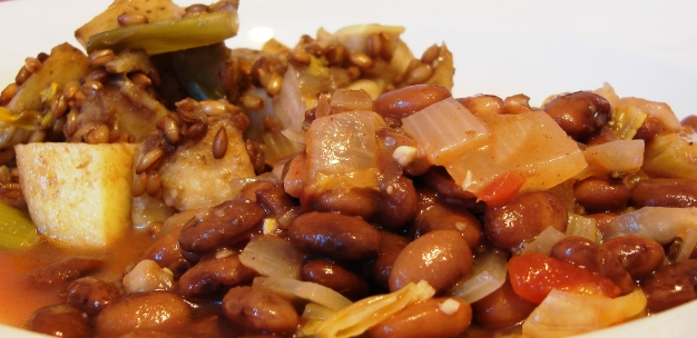 Pinto beans with napa cabbage; yellow finn potatoes with rye and leeks