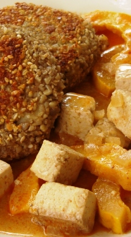 Tofu dijon with delicata squash.JPG; sesame-sunflower potato cakes