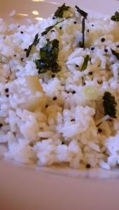 basmati rice pullao with turnip, brown mustard seed and black cumin