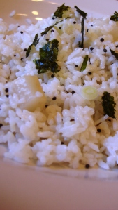 basmati rice pullao with turnip, brown mustard seed and black cumin